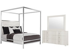 Landon White Metal Canopy Bedroom
