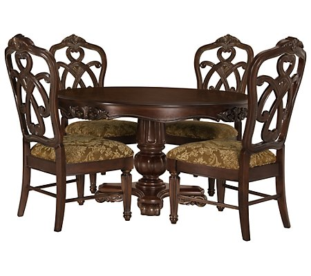 City Furniture Regal Dark Tone Round Table Amp 4 Wood Chairs