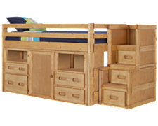 Cinnamon Jr Mid Tone Storage Loft Bed