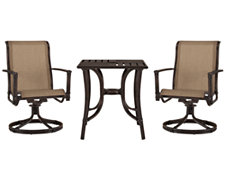 "Abaco Dark Tone 27"" Square Table & 2 Swivel Chairs"