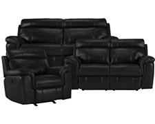 Gamma Black Microfiber Power Reclining Living Room