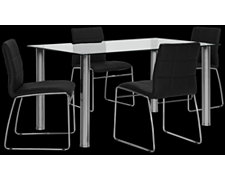 Napoli Black Rectangular Table & 4 Chairs