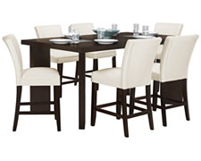 Delano Dark Tone High Table & 4 Bonded Barstools