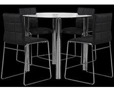 Napoli Black Round High Table & 4 Barstools