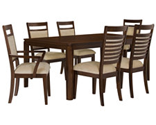 Andora Mid Tone Rectangular Table & 4 Upholstered Chairs