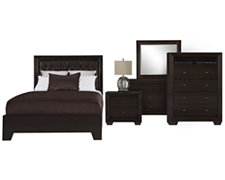 Adele2 Dark Tone Bonded Leather Platform Bedroom Package