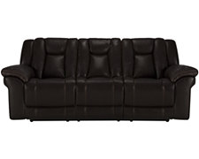 Abbott Dk Brown Leather & Vinyl Reclining Sofa