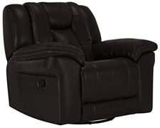 Abbott Dk Brown Leather & Vinyl Swivel Glider Recl