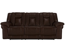 Abbott Md Brown Leather & Vinyl Reclining Sofa
