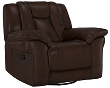 Abbott Md Brown Leather & Vinyl Swivel Glider Recl