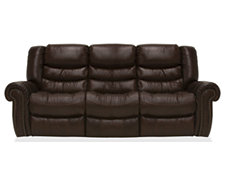 Peyton2 Dk Brown Leather & Vinyl Reclining Sofa