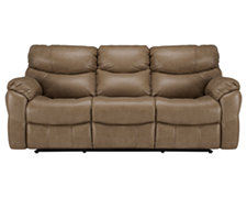 Derek Dk Taupe Leather & Vinyl Reclining Sofa