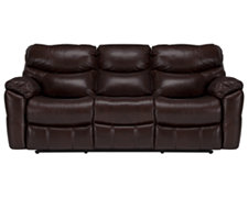 Derek Dk Brown Leather & Vinyl Reclining Sofa
