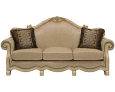 Regal Light Tone Leather Sofa