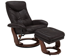 Oliver Dk Brown Bonded Leather Recliner & Ottoman