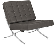 Europa Gray Bonded Leather Accent Chair