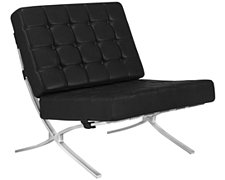 Europa Black Bonded Leather Accent Chair