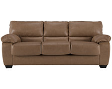 Joey Khaki Leather & Bonded Leather Sofa