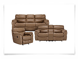 Derek Dk Taupe Leather & Vinyl Manually Reclining Living Room