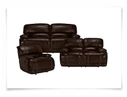 Benson Dk Brown Leather & Vinyl Manually Reclining Living Room