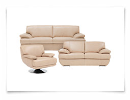Cordel Khaki Leather Living Room