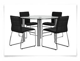 Napoli Black Round Table & 4 Upholstered Chairs