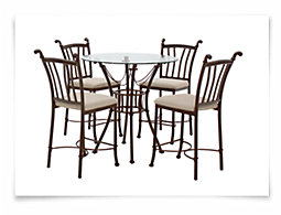 Denali Round Glass High Table & 2 Barstools