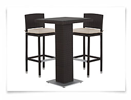 Zen2 White Square Pub Table & 2 Barstools