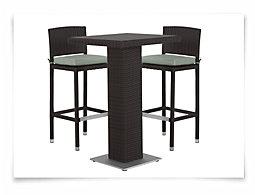 Zen2 Teal Square Pub Table & 2 Barstools