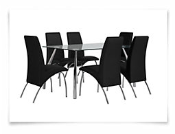 Mensa Black Rectangular Table & 4 Upholstered Chairs
