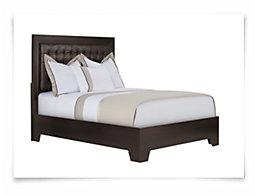 Adele2 Dark Tone Bonded Leather Platform Bed