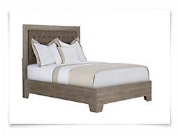 Adele2 Light Tone Bonded Leather Platform Bed