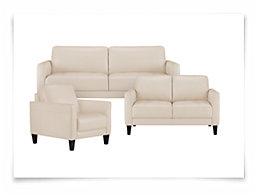 Luca Lt Taupe Leather & Bonded Leather Living Room