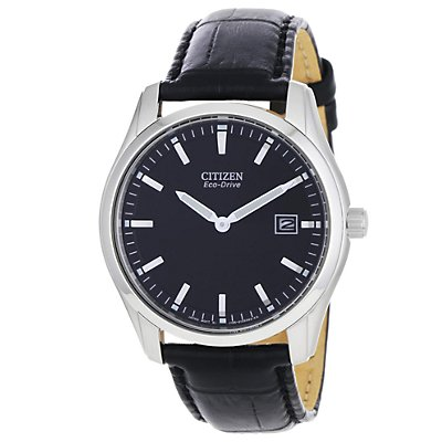 Citizen Eco-Drive Stiletto Round Black Strap (Men's)