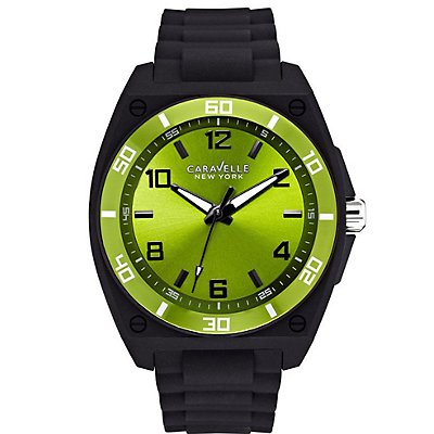 Caravelle New York Green Dial Rubber Strap (Men's)