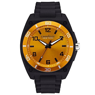 Caravelle New York Orange Dial Rubber Strap (Men's)