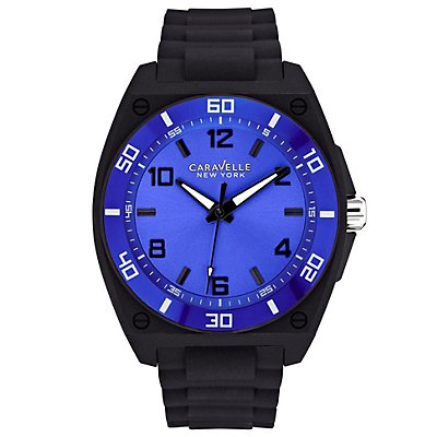 Caravelle New York Blue Dial Rubber Strap (Men's)