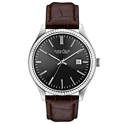 Caravelle New York Black Dial Leather Strap (Men's)