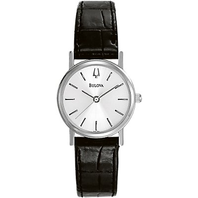 Bulova Silver And Black Leather (Women's)
