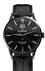 Edox Les Vauberts Big Date Black PVD Black (Men's)