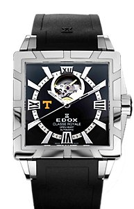 Edox Classe Royale Open Heart SS Black (Men's)