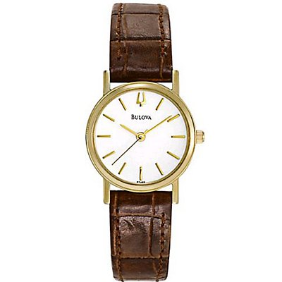Bulova White Dial Brown Leather (Women's)