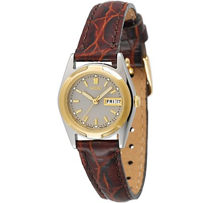 Seiko Silver SS Leather Band (Women's)
