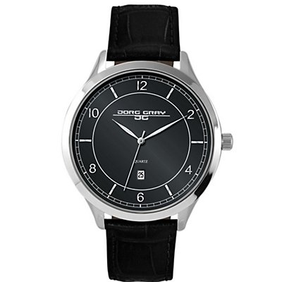 Jorg Gray Black Dial and Leather Strap (Men's)