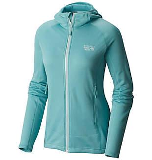 Mountain Hardwear Womens Desna Grid Hooded Jacket (Spruce Blue or Black)