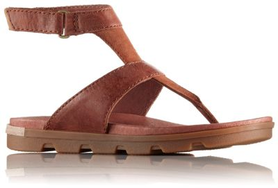 Women S Torpeda Leather Ankle Strap Thong Sandal Sorel