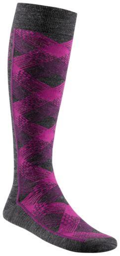 Criss Cross Plaid Over-The-Calf Super-Light Ski Sock