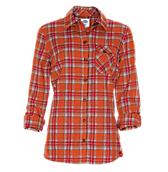 Women's Plaid Roll-Up Sleeve Shirt