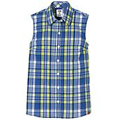 Women's Plaid Sleeveless Stretch Poplin Shirt