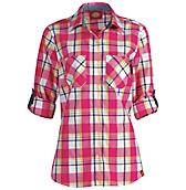 Women's Quarter Sleeve Plaid Roll-Up Shirt